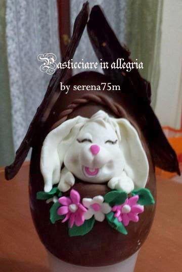 pasticciare in allegria: Uovo di Pasqua decorato coniglietto affacciato...
