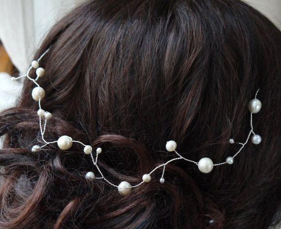 pearl hair vine  ivory freshwater pearls bridal by PearlsByTabs, $46.00