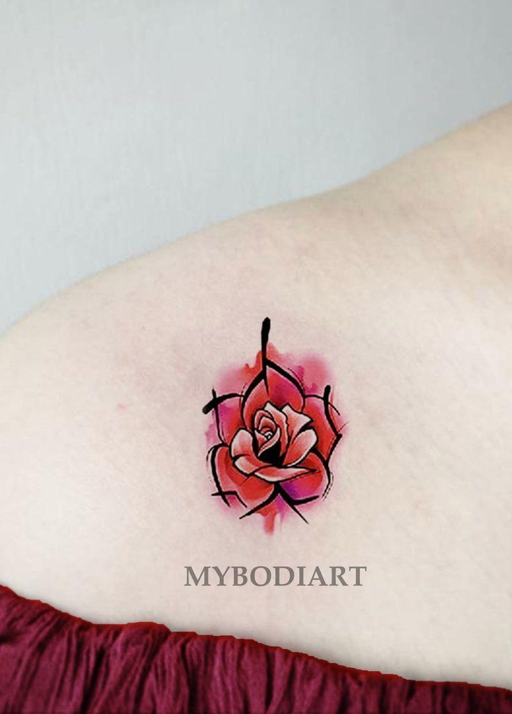 780936ba7 Linework Watercolor Red Rose Shoulder Tattoo Ideas for Women - Small  Vintage Floral Flower Arm Tat