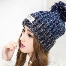 2015 nueva moda mujer de cálida lana de invierno sombreros de punto gorro de piel para