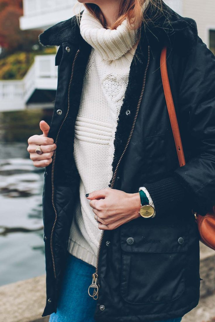 Cable knit turtleneck sweater and Barbour Jacket
