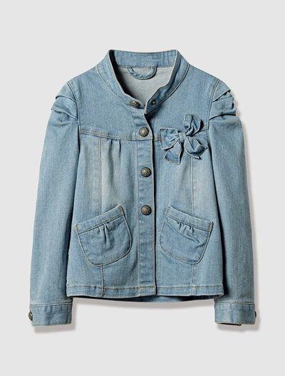 Girl's Denim Jacket BLUE DARK WASCHED - vertbaudet enfant