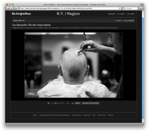 New York times 'One in 8 million' are a large selection of images with sound. http://www.nytimes.com/packages/html/nyregion/1-in-8-million/