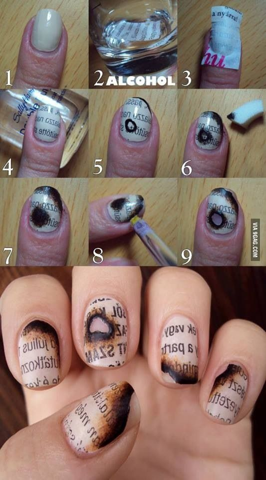 Burned Nails: Tutorial can be found at http://glitterfingerlexa.tumblr.com/post/68663946757/tutorial-burned-paper-nails-1-paint-your-nails