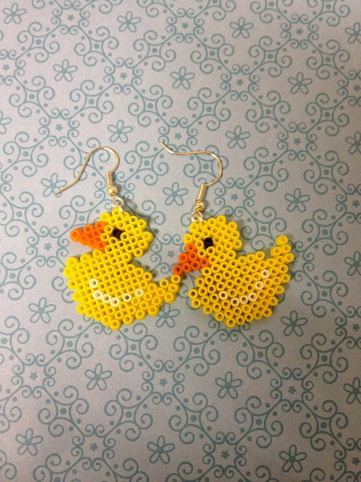 Mini Hama Bead 8 Bit Pixel Rubber Duck Earrings Cute. $5.40, via Etsy.