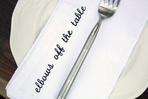 Mind Your Manners Cloth Dinner Napkins   via Urban Bird & Co.
