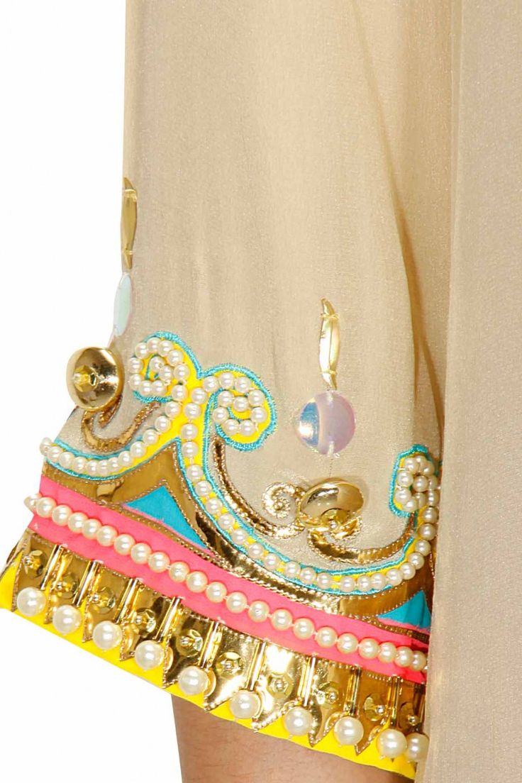 Beige beads and pearl embroidered kurta available only at Pernia's Pop-Up Shop.