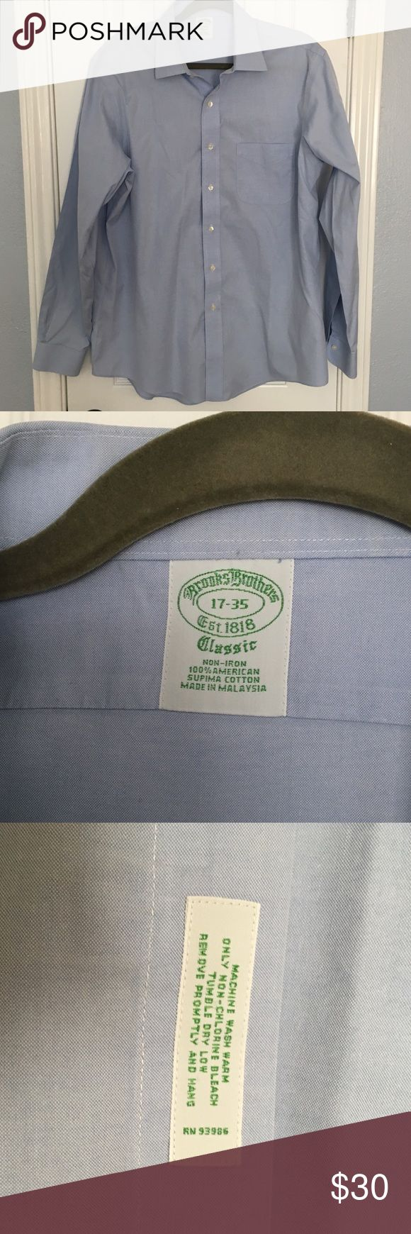 Brooks Brothers Non Iron Dress Shirt Slim fit size 17-35 Brooks Brothers Non Iron shirts.   Slight wear on inside of collar, not noticeable when wearing. Good condition. Brooks Brothers Shirts Dress Shirts