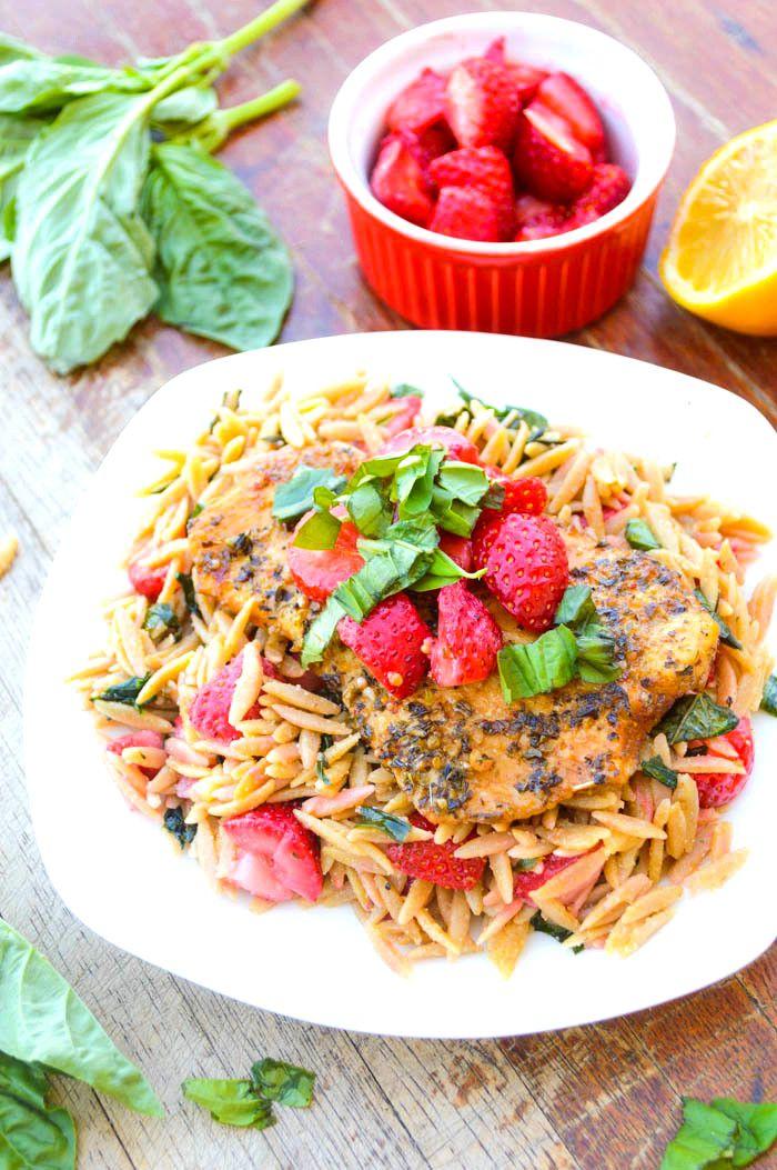 Strawberry, Basil & Chicken Orzo Pasta - The Nutritious Kitchen