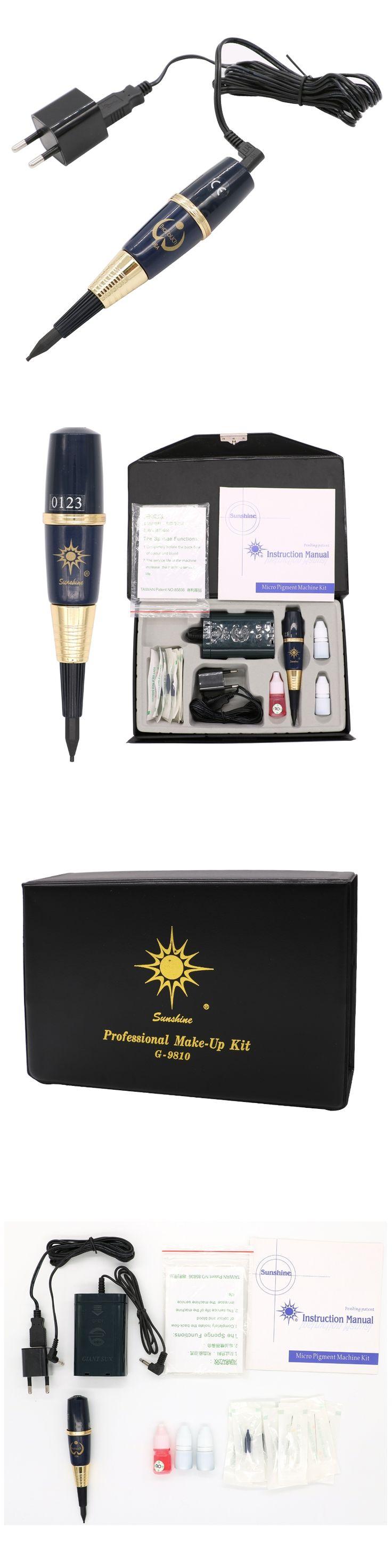 Free shipping 1 set USA biotouch Sunshine tattoo machine kit  permanent makeup machine kit For Eyebrow and Lip With Tattoo Gun