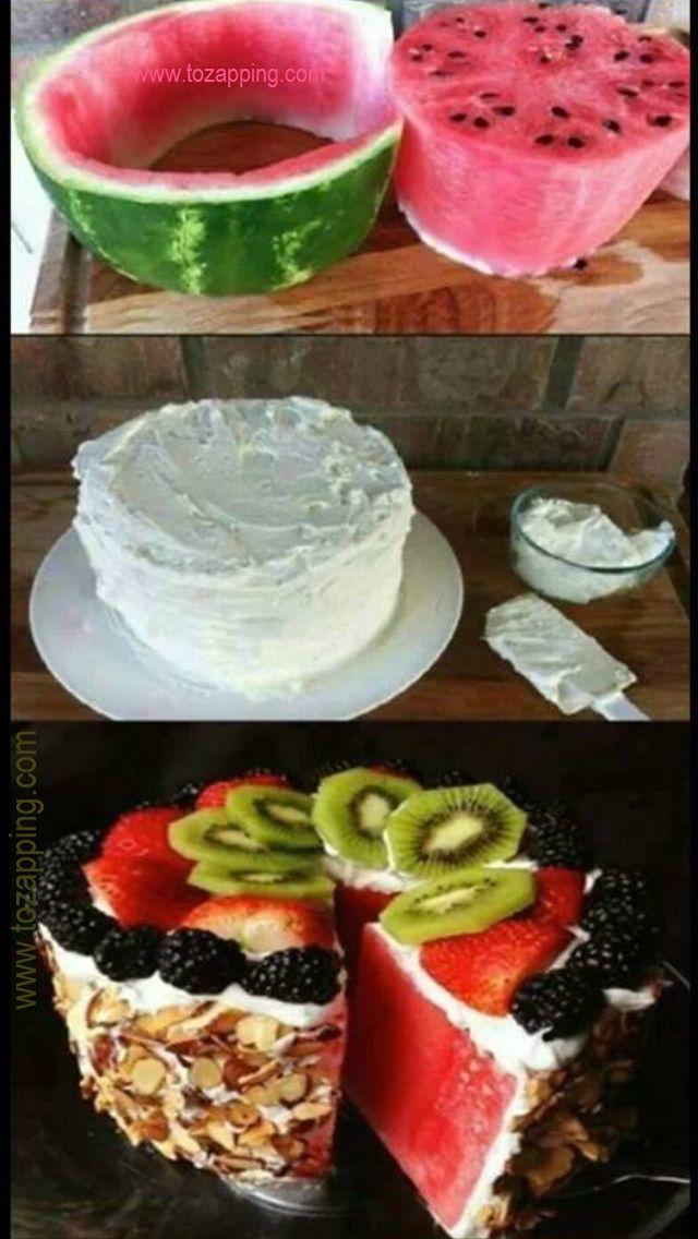 Cómo hacer un pastel de sandía paso a paso. Hecho de sandía. Pastel de sandia. ¿os apetece hacerlo?¿habéis comido alguna vez un pastel de sandía como este?