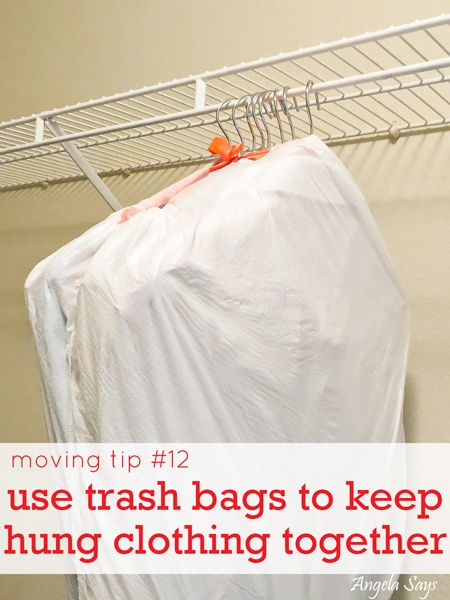 easy moving tips- bag clothes then USE A TWIST TIE THE HANGERS AT THE TOP.!