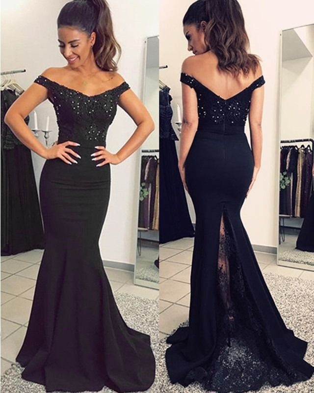 0fdcc368d7 Mermaid V-neck Evening Dresses Lace Off Shoulder Prom Gowns in 2019 ...