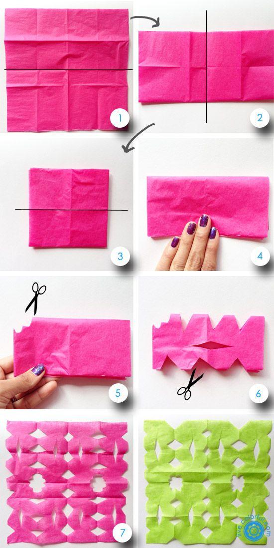 Tecnica papel picado:Dobla la pila de papel a la mitad. Mantén la pila doblada mientras trabajas.Dibuja el diseño de como quieres que quede tu papel  picado.Comienza a cortar tu diseño. Usa una tijera para recortar los huecos grandes y las partes más fáciles. Ejerce suficiente presión como para poder cortar todas las capas sin arrancar las delicadas capas de papel china.Alisa la pila de papeles una vez que hayas terminado de cortar.Revisa tu hermoso diseño sobre el papel china.