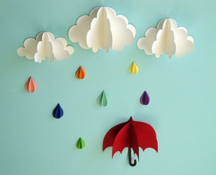 Red umbrella raindrops and clouds wall art 3d paper wall for How to make a paper cloud