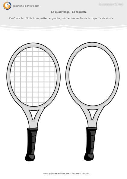 PDF Fiche de Graphisme Petite Section Quadrillage. Reproduire les fils des raquettes de tennis avec un gros feutre, puis avec un feutre fin.