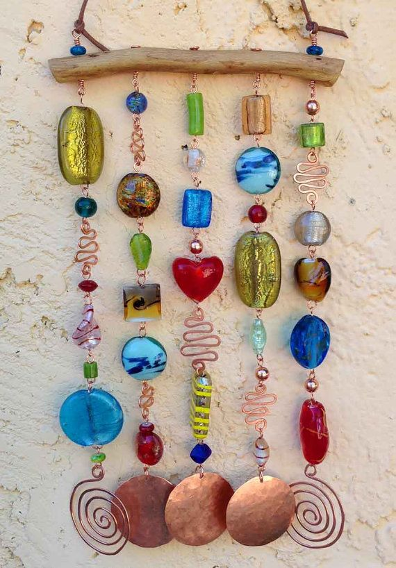 Glass Beaded Wind Chime - ( Windchime ) Suncatcher on Mesquite with Hammered Copper -- Bohemian