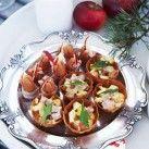 Krustad med äpple & julskinka och baconbakad prinskorv