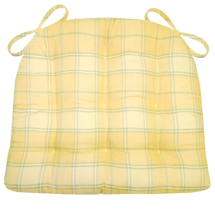 Morning Dew Sunshine Yellow dining chair pads are made in a cute plaid of yellow and green in the shades of a honeydew melon! #dew #morning