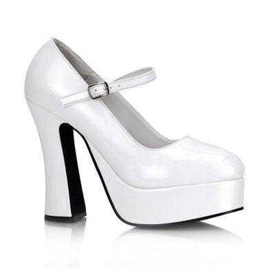 dolly-50 wit patent -vintage, retro, 50's hakken schoen, pump met enkelbandje