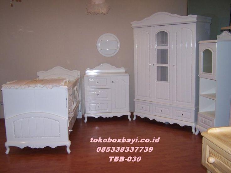 Kamar Set Bayi Putih Meah kaki Gareng Box Bayi / Tempat Tidur Bayi 1 Set Full Lengkap Harga Murah Cat Duco Terbaru By Toko Box Bayi