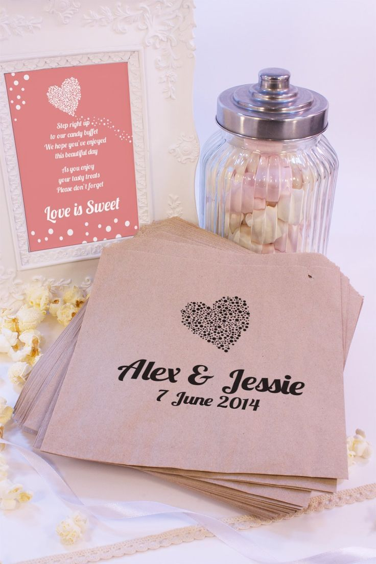 """Personalised Wedding sacchetti a forma di cuore, motivo a pois """"Candy Cart Bomboniere-Coriandoli, motivo: fidanzamento Brown kraft: Amazon.it: Casa e cucina"""