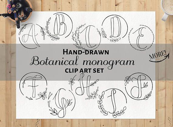 Hand-drawn clipart hand drawn botanical monogram clip art
