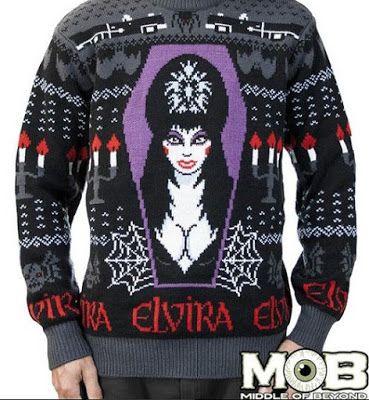 Creepmas Sweaters for Naughty Boils and Ghouls - I kinda need this Elvira Christmas sweater!!!