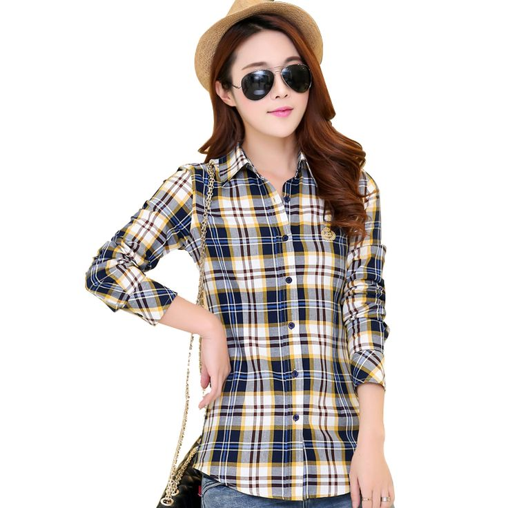 10Colors 2016 Brand Fashion Women Blouses Long Sleeve Turn-down Collar Plaid Shirts Women Casual Cotton Plus Size Shirt Blusas