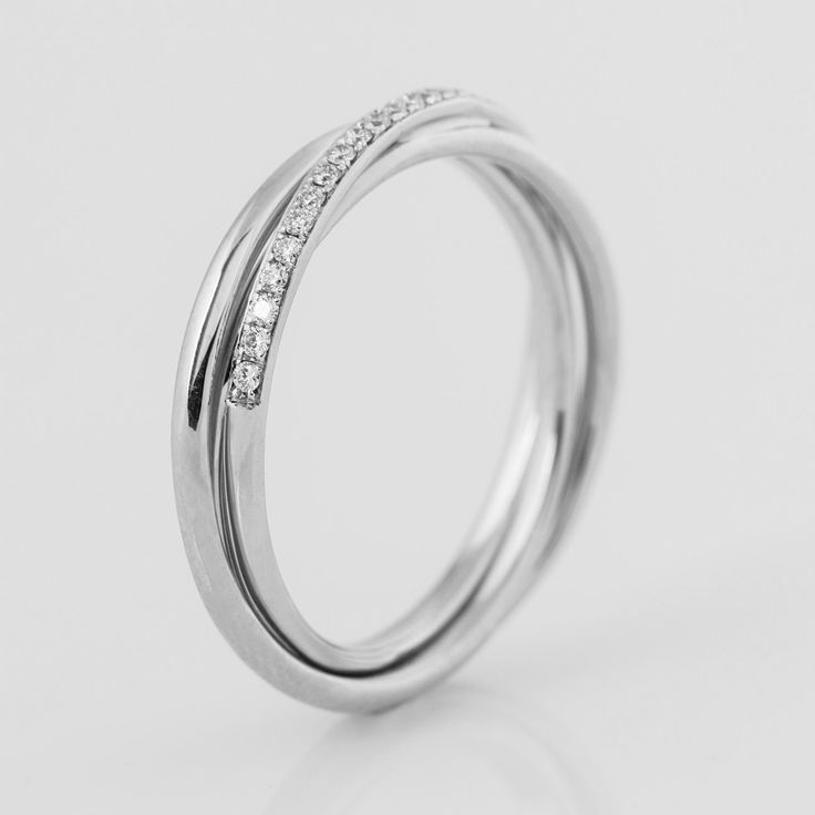 White gold Three bands Ring, 14K Gold And Diamonds Band, Half Eternity Ring, Wedding Ring, Unique Diamond Band, Engagement Ring by NirOliva on Etsy https://www.etsy.com/listing/460383806/white-gold-three-bands-ring-14k-gold-and