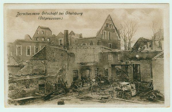 Zerschossene Ortschaft bei Ortelsburg im 1. Weltkrieg, welcher Ort??