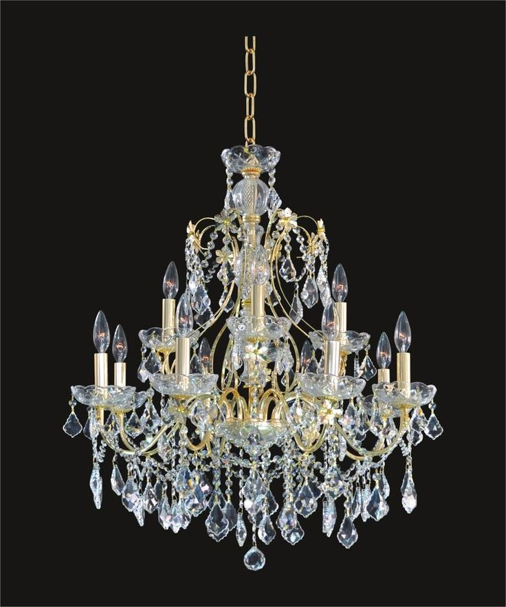 Beautiful CRYSTAL GOLD CHANDELIER (D28 X H28 ) 12 Lights; Ceiling Fixture  Comes In