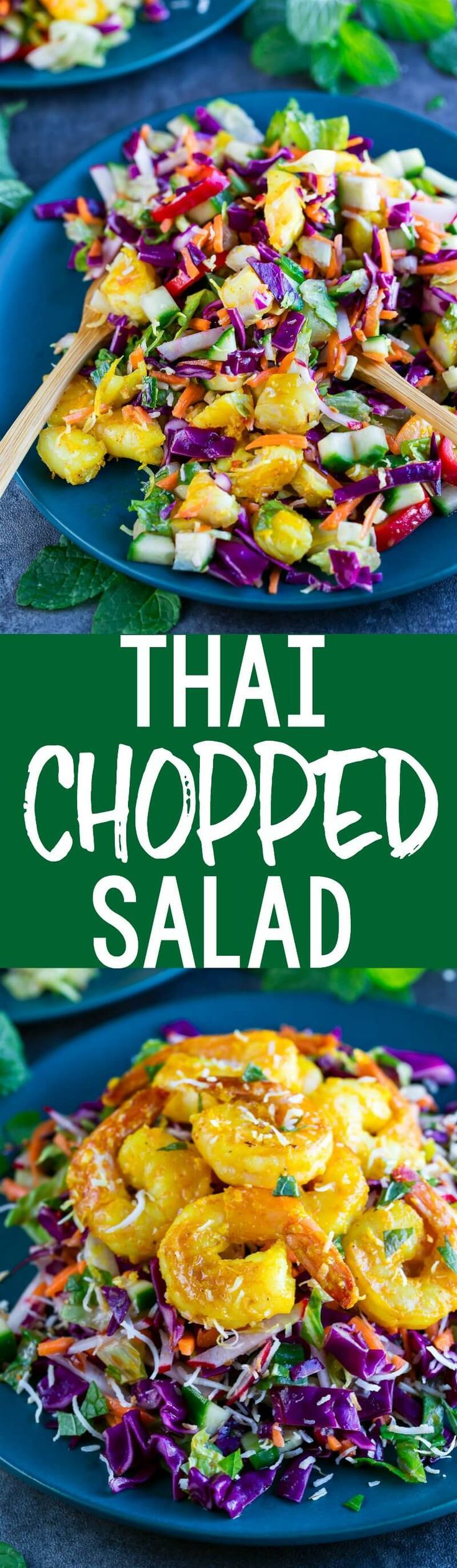 This crazy delicious Thai Chopped Salad with Lemongrass Ginger Shrimp is fresh and healthy! Paleo, Dairy-Free, Gluten-Free, and Whole30 compliant.