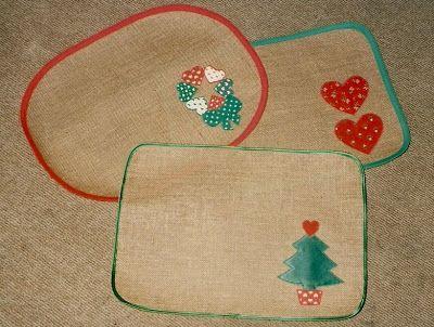 Manteles individuales de navidad confeccionados en yute liladas navidad pinterest navidad - Ideas para hacer manteles ...