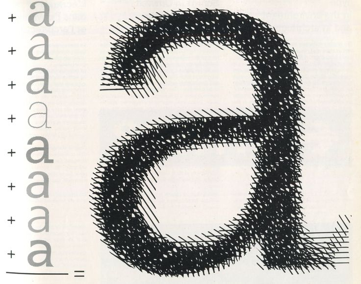 Diagram presenting the result of superimposition of 8 lowercase 'a' glyphs by A. Frutiger.