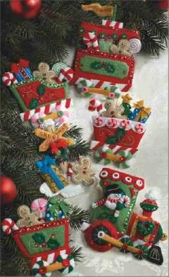 Candy Express Train Felt Ornaments