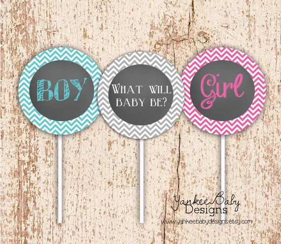 Chevron Gender Reveal Party - Cupcake Toppers on Etsy, $7.00