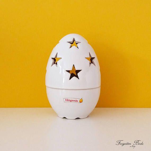 Höganäs Keramik Stoneware Egg Shaped Tealight Candle Holder.