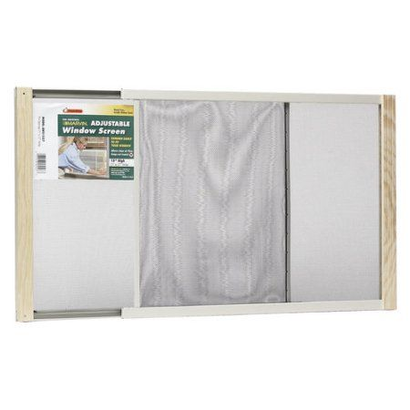 Wood Frame Adjustable Window Screen, 15 inch x 37 inch, Multicolor