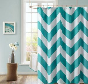 Cafepress Coral Aqua Grey White Chevron Shower Curtain