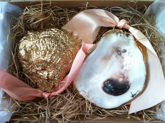 Gold Oyster Shell Ornament by S.Bynum Art & Design