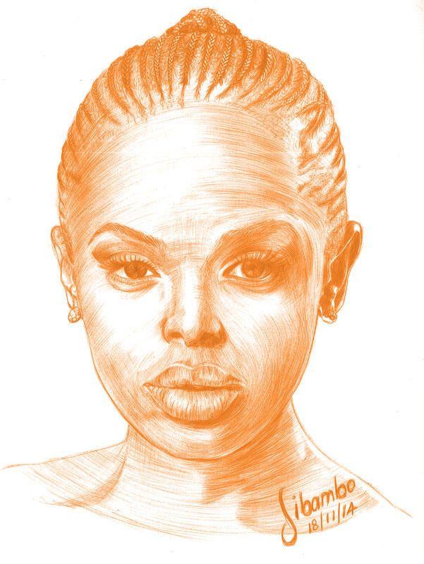Unathi Msengana drawing done in orange pen