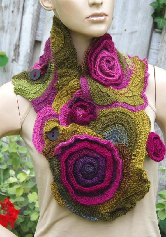 Crochet Scarf - Capelet. Unique scarf made Freeform method. Warm and pleasant to the touch. Beautiful unique design. Color: purple, green, pink  Size:One size fits all  materials used: 100% acrylic premium   lenght about 102/24cm 40,16/9,45  Care instruction: hand wash using warm water.  Because of different monitors and screen resolutions, colors may look different on the screen than really.