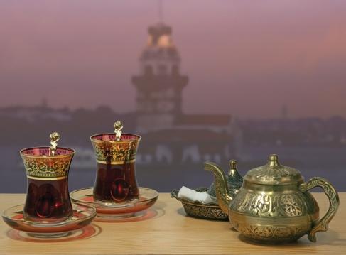 Turkish tea across Kizkulesi, Uskudar
