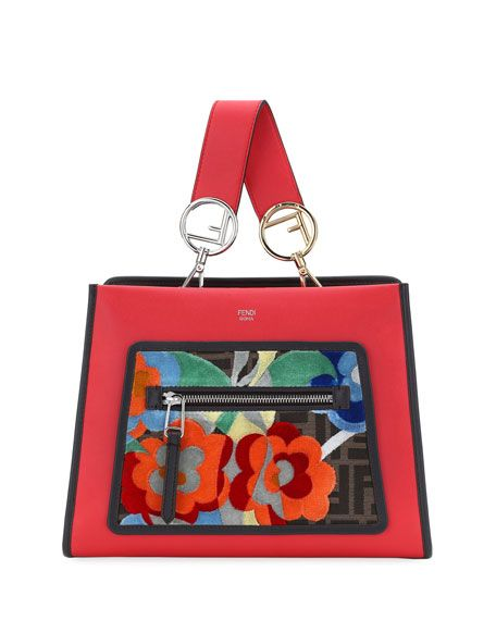 69fab7456ff Runaway Small Embroidered Century Tote Bag, Red by Fendi at Neiman Marcus