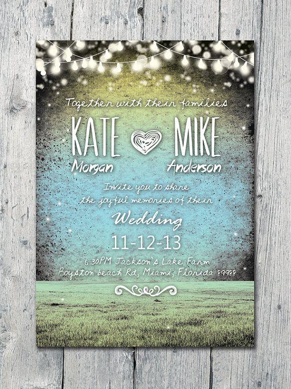 Set of 60 - Romantic and Festive Night Lights Wedding Invitation and Reply Card Set - Wedding Stationery - ID213
