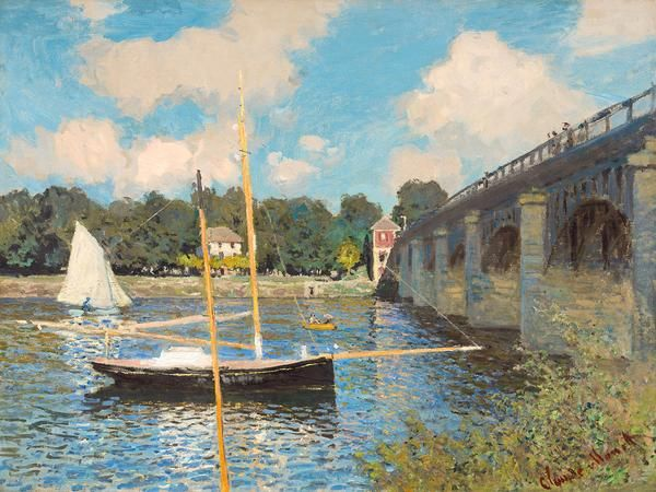 The Bridge at Argenteuil print. By Claude Monet. French, 1874. Oil on canvas. Pleasure boats for tourists float on the Seine in Argenteuil, France. Early impressionist painting capturing the fleeting effects of light on the landscape.