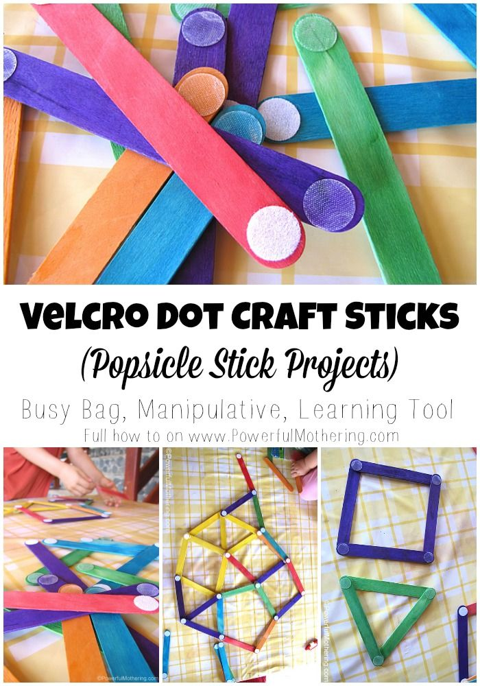 Velcro Dot Craft Sticks Popsicle Stick Projects - kids love to make free shapes and color match!