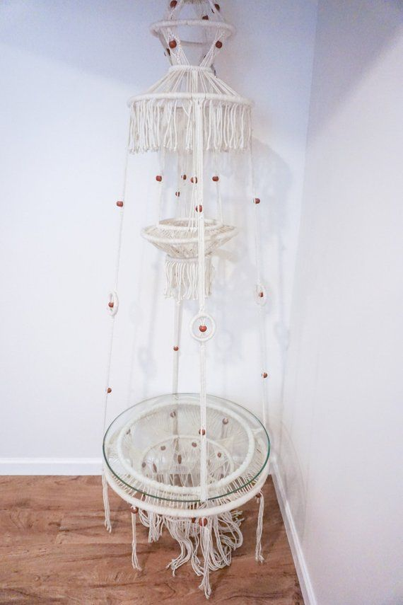 Bohemian Vintage Macrame Hanging Glass Accent Table Glass Accent Tables Diy Room Decor Bohemian Diy