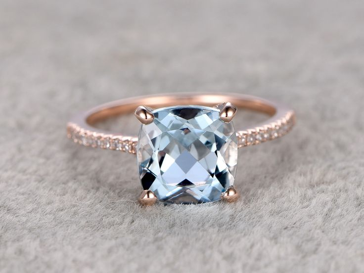 8mm Cushion Aquamarine Engagement Ring Diamond Wedding Ring 14k Rose Gold Curved Basket Under - BBBGEM